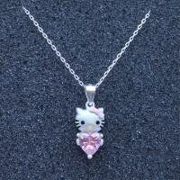 S990足银kt猫项链 凯蒂猫925纯银锁骨链可爱卡通款饰品 粉红色 爱心钻猫咪款