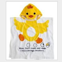 儿童浴巾纯棉带帽浴袍宝宝浴衣斗篷卡通可穿毛巾料连帽冬