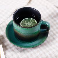 汉馨堂 咖啡杯 意陶瓷青山绿水咖啡杯碟套装 zakka情侣杯 牛奶杯