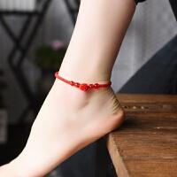 本命年红绳脚链女简约款 朱砂玫瑰花搭配红玛瑙红绳脚链