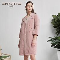 诗篇2018春季新品 活力减龄绣花中长款羊毛大衣外套6C68180170