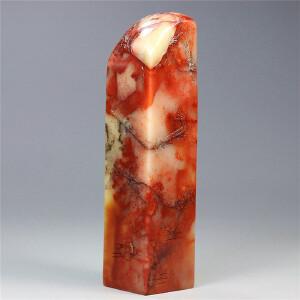 寿山芙蓉石  薄意雕 梅