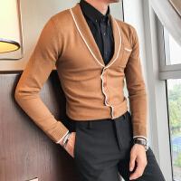 男士针织衫开衫外套睡衣领修身韩版潮流个性春秋款毛衣男秋季外穿