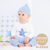 baobaobest 新款纯棉长袖婴儿两件套装春季中小童服装男女宝宝内衣新生儿衣服