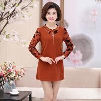 中老年女装春季长袖连衣裙常规款40-50岁中年妈妈装韩版打底裙子时尚休闲荷叶领打底衫短裙