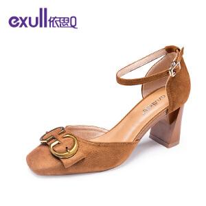 依思q新款复古方头单鞋时尚百搭绒面高跟粗跟女鞋