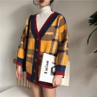 2018春装韩版中长款宽松格子长袖开衫上衣潮百搭针织衫毛衣外套女