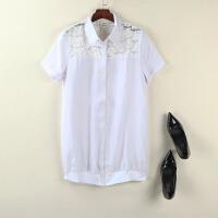 秋装白色蕾丝衬衫职业女装短袖显瘦大码女装打底衫