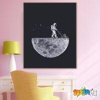 数字油画diy减压手工油彩画儿童挂画宇航员星空宇宙DIY手绘装饰画