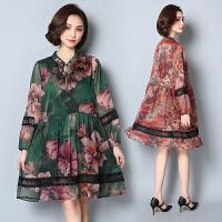 春装新品韩版大码女装印花宽松中长款遮肚显瘦长袖雪纺胖mm连衣裙