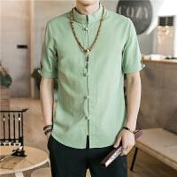 中国风夏季新款男士盘扣棉麻短袖衬衫中式潮复古休闲青年唐装上衣