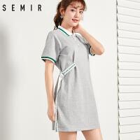 森马连衣裙女学生夏季新款Polo衫短袖T恤裙宽松显瘦翻领字母印花