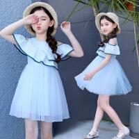 女童连衣裙2018新款夏装韩版夏季公主裙洋气露肩中大童儿童装裙子
