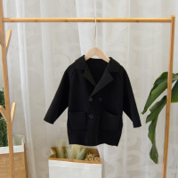 宝宝毛呢外套秋冬季新款韩版潮1一2-3岁男童双面呢小儿童呢子大衣