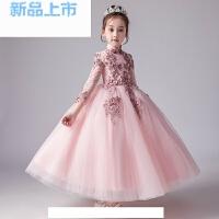 女童公主裙生日长袖儿童婚纱裙钢琴演出服小主持人晚礼服蓬蓬纱夏
