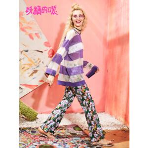 妖精的口袋裤子ins新款休闲雪纺紫色原宿度假长裤女潮