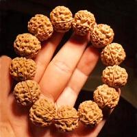 尼泊尔大金刚菩提子手串男士原籽爆肉蜂窝黄皮双龙纹5五6六瓣佛珠