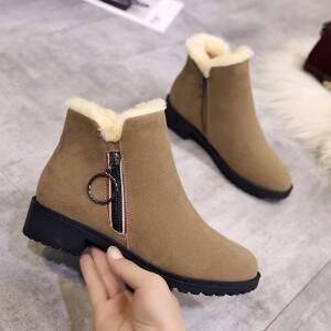 雪地靴女棉靴女新款冬季棉鞋休闲韩版雪地靴女时尚厚底短靴系带经典女靴马丁靴子3312NX