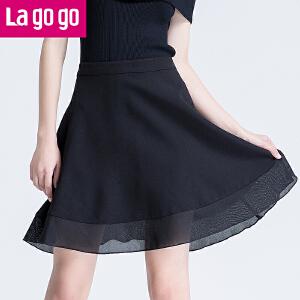 【清仓3折价59.7】Lagogo2019夏季新款百搭纱裙高腰雪纺半裙女黑色a字裙半身裙