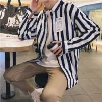 新款秋季个性贴标设计男士长袖衬衫时尚宽条纹衬衣休闲衬衫男