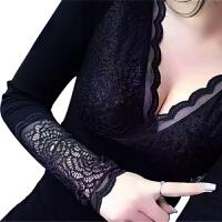 低领性感蕾丝保暖内衣女单件上衣加绒加厚季秋衣紧身打底衫肉色