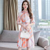 茉蒂菲莉 连衣裙 女士翻领长袖格子拼接收腰显瘦气质衬衫裙秋季韩版新款女式时尚休闲款裙子