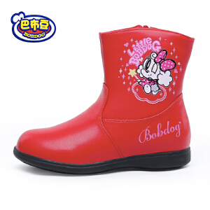 16cm~22.5cm巴布豆童鞋 女童靴子2016冬季新款女童马丁靴皮靴真皮女童短靴潮
