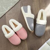 棉拖鞋女包跟冬季室内防滑情侣韩版保暖棉鞋男居家厚底孕妇棉拖鞋