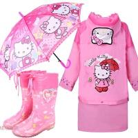 儿童雨衣雨裤套装kitty宝宝加厚雨鞋 KT猫雨伞凯蒂猫女童雨披