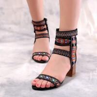 复古羊皮女鞋夏季民族风女鞋真皮凉鞋高跟粗跟罗马鞋时尚凉鞋