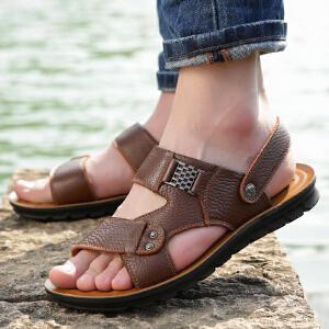宜驰 EGCHI 凉鞋男士套脚沙滩鞋一脚蹬透气皮凉鞋子男 10920