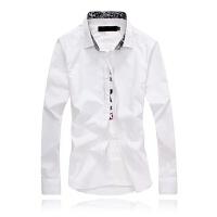 慈姑男士长袖衬衫韩版修身西装休闲内寸衫打底白色衬衣毛衣打底衬衫 S 95斤以下