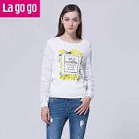 Lagogo/拉谷谷新款套头针织衫修身印花蕾丝长袖上衣女圆领打底衫