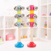 婴儿童手摇铃串铃木质制手铃棒铃打击乐器幼儿园宝宝音乐铃铛玩具