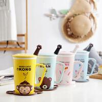 汉馨堂 马克杯 卡通动物陶瓷杯大容量创意情侣马克杯带盖勺手柄牛奶咖啡杯