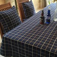 美式藏蓝色格子桌布布艺棉麻小清新长方形茶几方桌西餐圆桌餐桌布