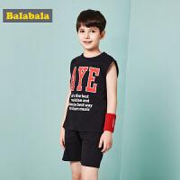 巴拉巴拉童装男童套装中大童儿童两件套夏装2018新款无袖背心裤子