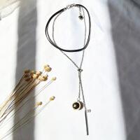 -简约个性几何长条圆珠吊坠项链女珍珠短款锁骨链潮流气质百搭配饰 银色