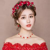 结婚礼婚纱礼服配饰新娘头饰红色敬酒服发饰发带发箍