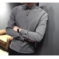 男士小款修身长袖衬衫小码丨码男韩版贴身衬衣发型师压线寸衣忖衫