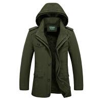 秋冬季大码男装夹克外套中老年宽松加绒中长休闲棉加厚爸爸上衣
