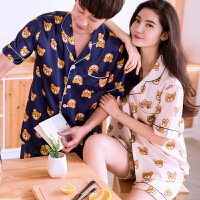 夏季韩版情侣真丝睡衣男女士薄款性感丝绸冰丝短袖两件套装家居服 短袖熊女粉 男宝蓝色