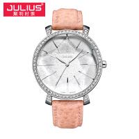 2018新款Julius聚利时尊贵典雅人气圆形真皮石学生表女士手表