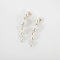 -复古大小珍珠耳环女气质夸张大珠子长款流苏时尚大气耳钉耳坠 金色