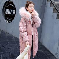 粉色长款棉衣女冬季加厚宽松过膝外套学生棉袄面包服