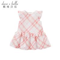 davebella戴维贝拉女童夏装新款连衣裙 宝宝纯棉短袖裙子DB7211