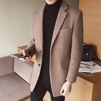 新款2018秋冬男呢大衣英伦修身中长款妮料西装羊毛呢子外套韩版男