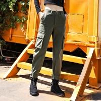 工装裤女直筒裤宽松裤子学生韩版女裤秋冬束脚哈伦裤休闲裤黑色