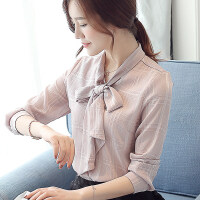 雪纺衫女长袖2018春装新款 韩版宽松蝴蝶结气质衬衫时尚洋气小衫