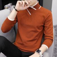 秋季新款长袖t恤男士半高领打底衫潮流男装针织上衣韩版纯色秋衣